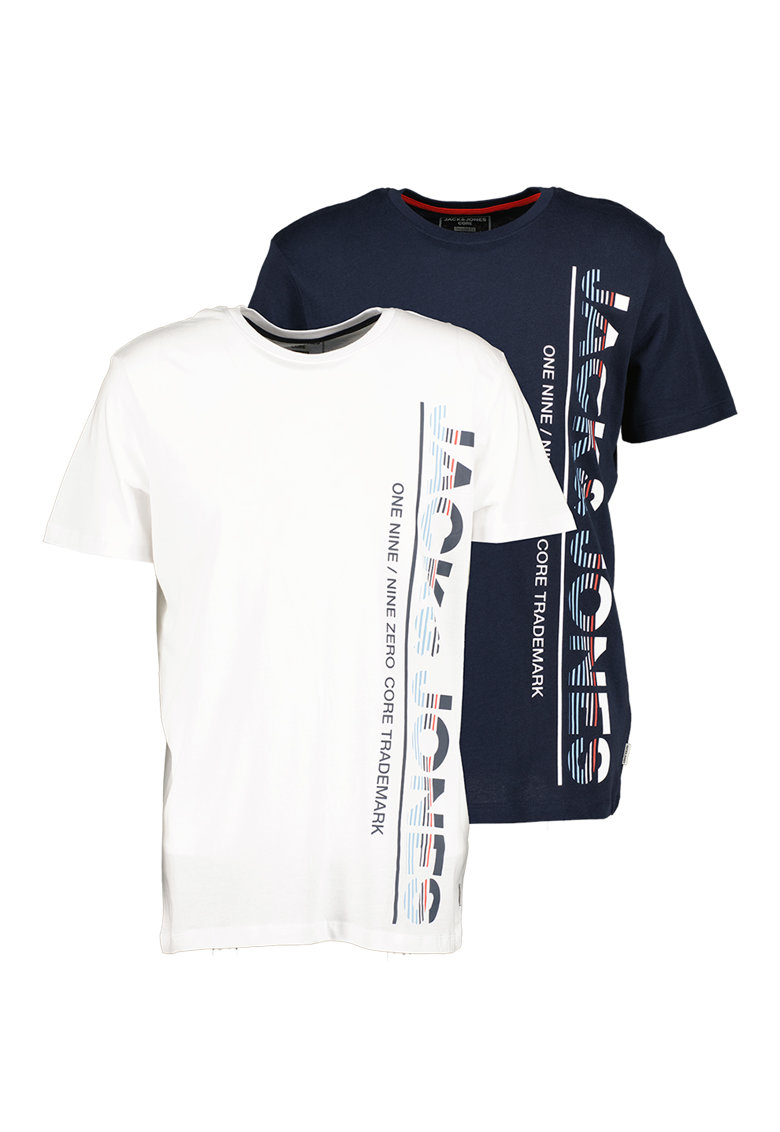 JackJones Set de tricouri de bumbac cu logo supradimensionat Structure – 2 piese