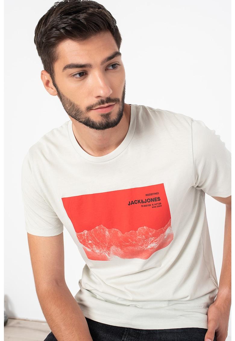 JackJones Tricou cu decolteu la baza gatului cu logo si imprimeu grafic Navaro
