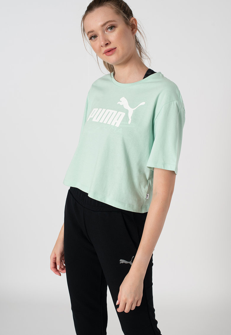 Puma Top crop relaxed fit cu logo Essentials