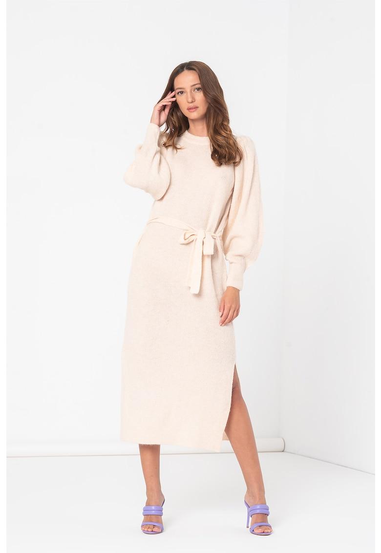 Rochie midi din amestec de lana cu cordon