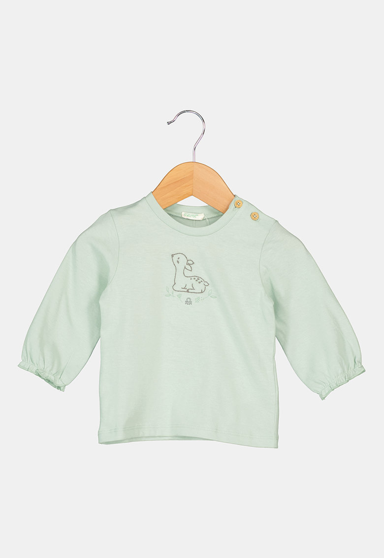 Bluza de bumbac organic cu design frontal de la United Colors of Benetton