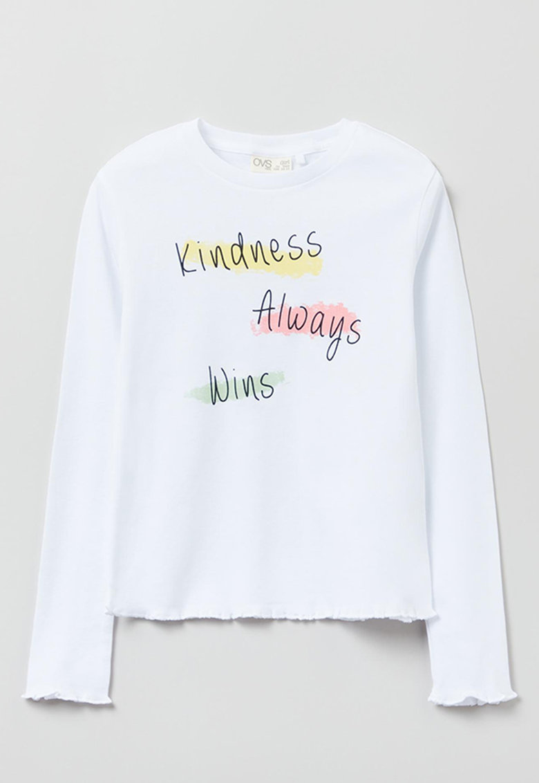 OVS Bluza usoara cu imprimeu text contrastant
