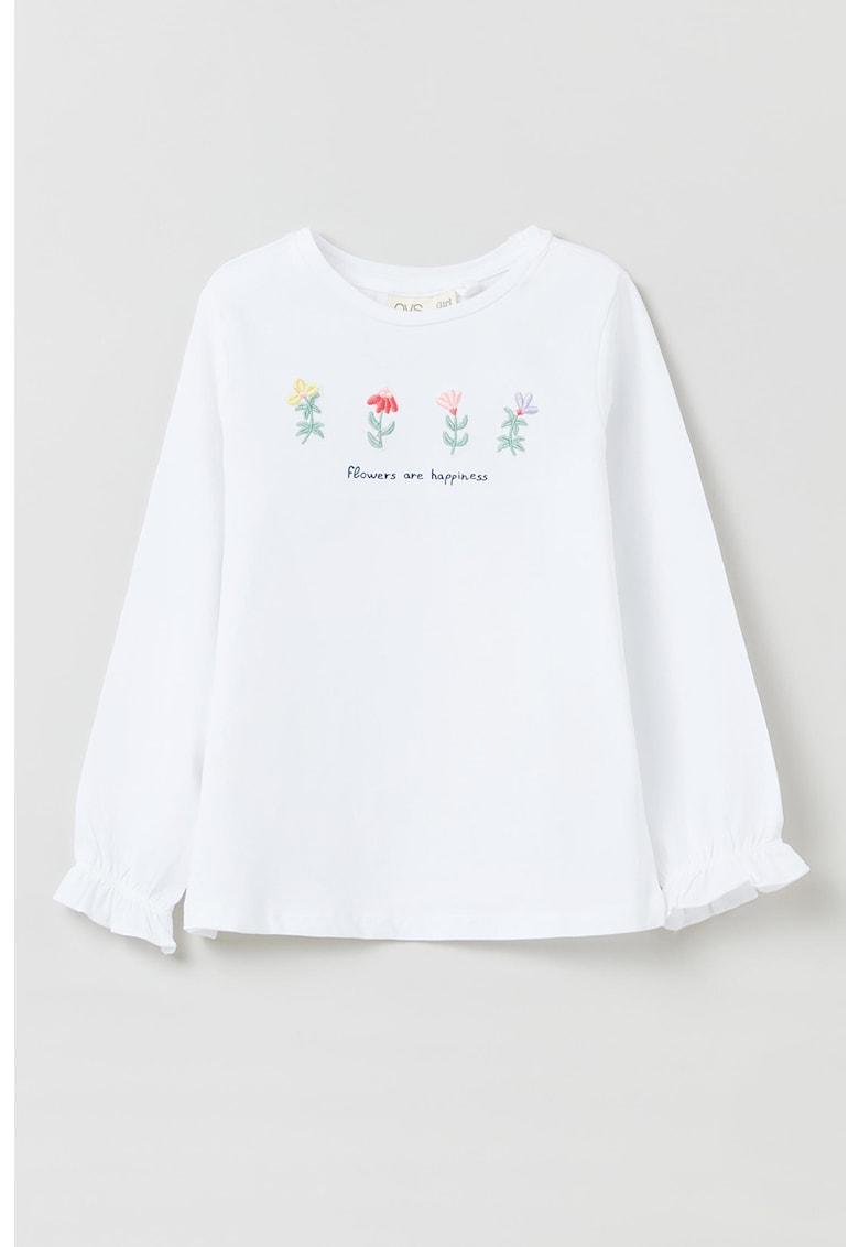 OVS Bluza din amestec de bumbac cu broderii florale