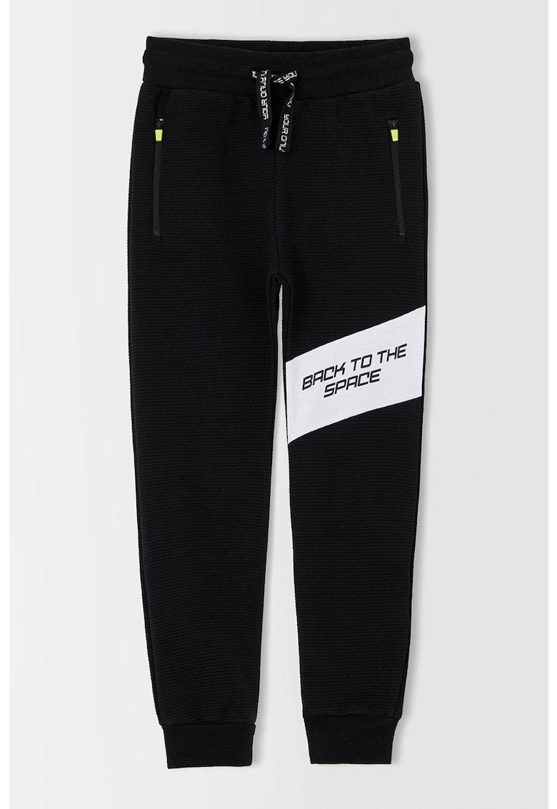 DeFacto Pantaloni sport cu striatii si snur in talie
