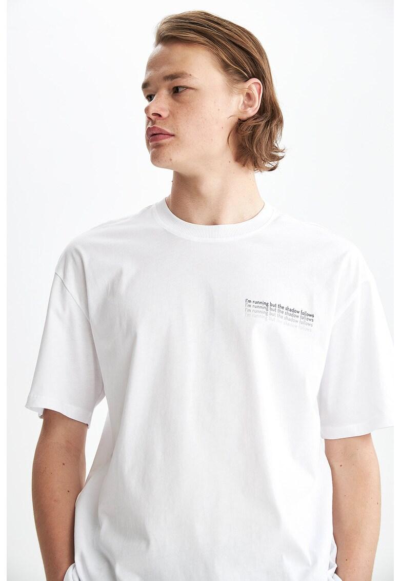 DeFacto Tricou cu decolteu la baza gatului si imprimeu text pe partea din spate