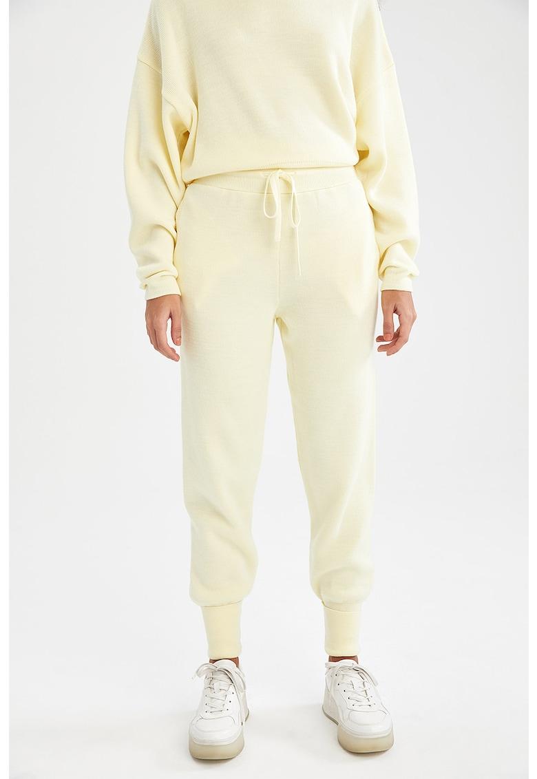 DeFacto Pantaloni sport cu talie inalta si snur in talie