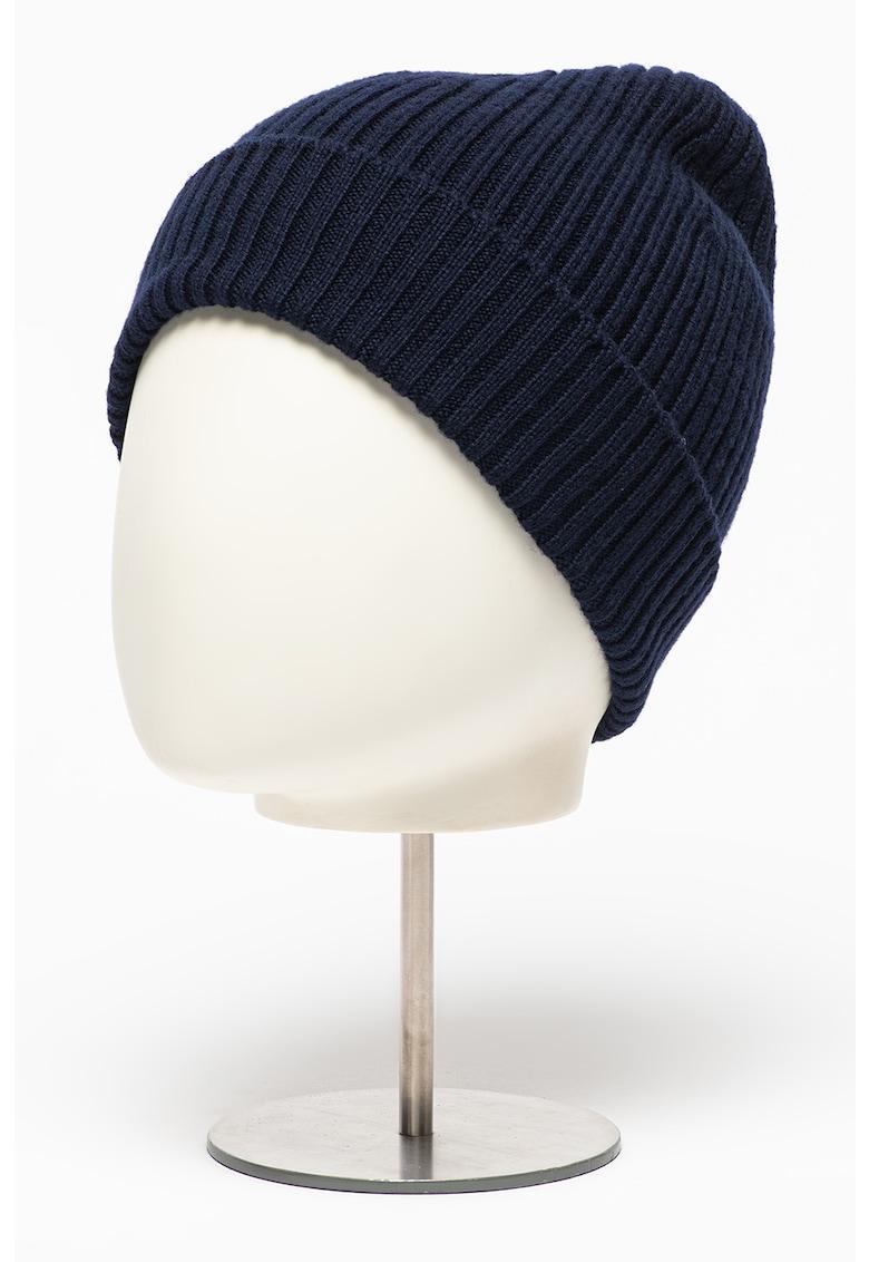 Caciula elastica de lana cu logo