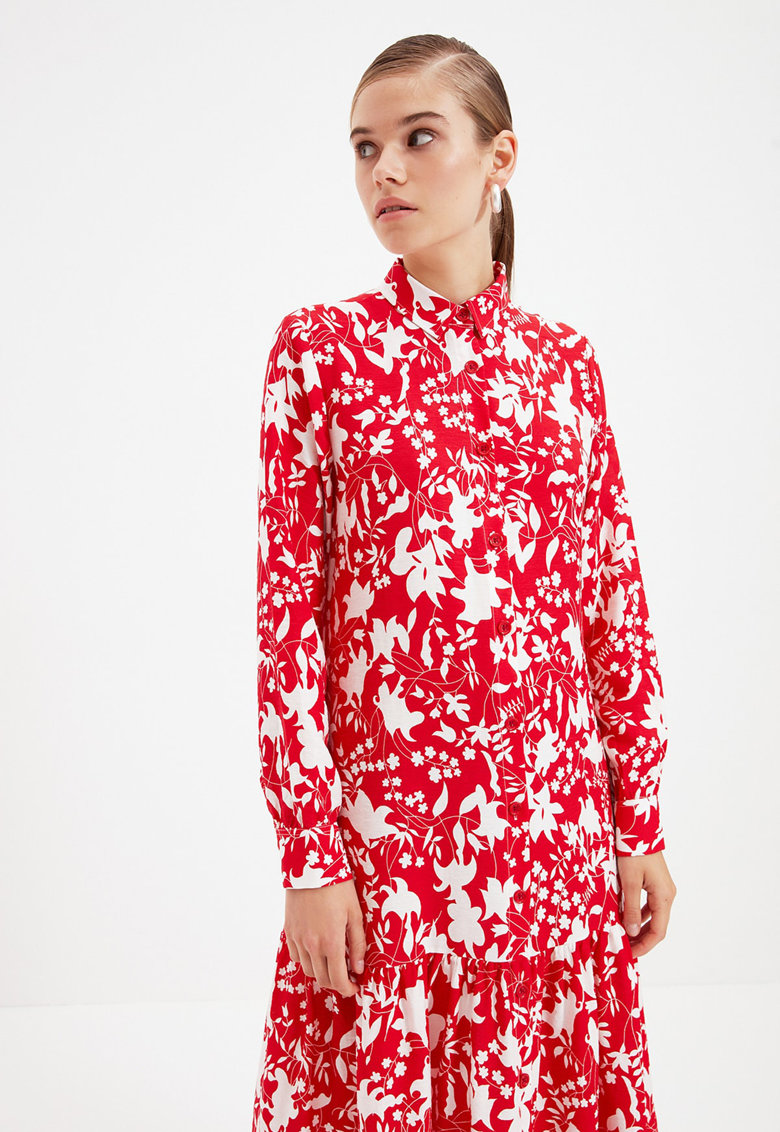 Rochie maxi tip camasa cu imprimeu