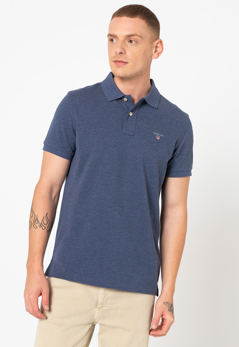 Gant Tricou polo regular fit din material pique cu logo brodat discret Rugger