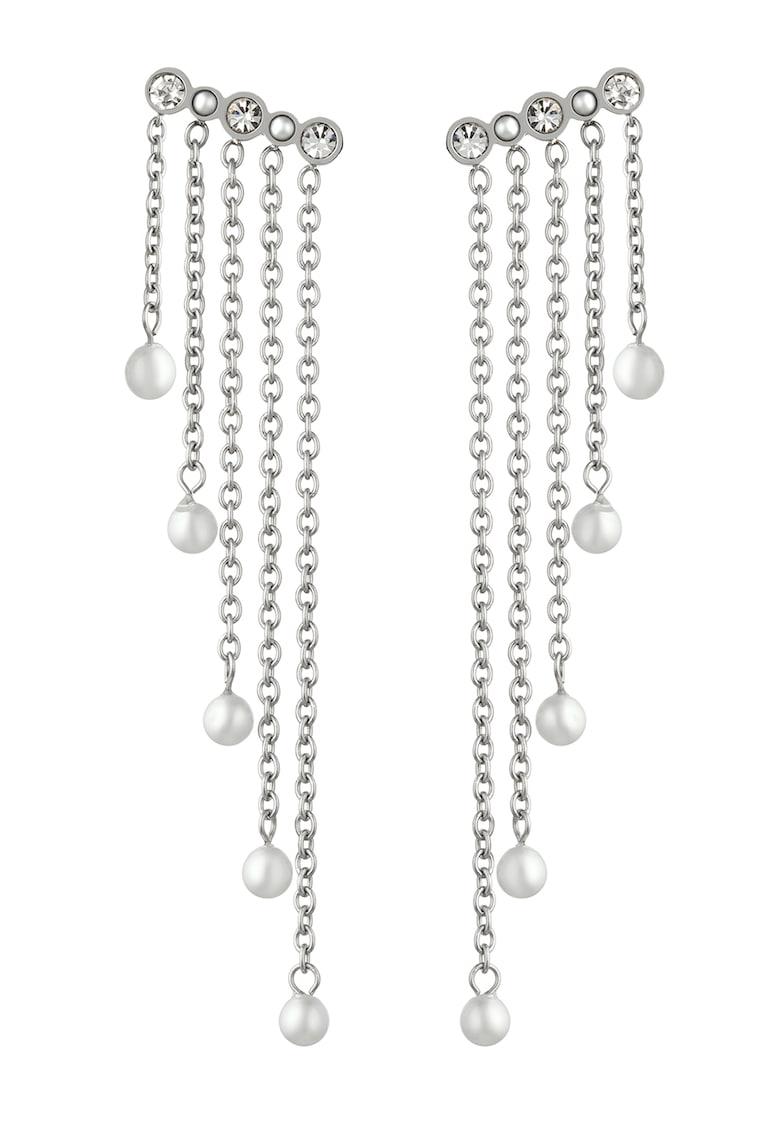 Cercei din otel inoxidabil cu cristale si perle sintetice de la Liu Jo