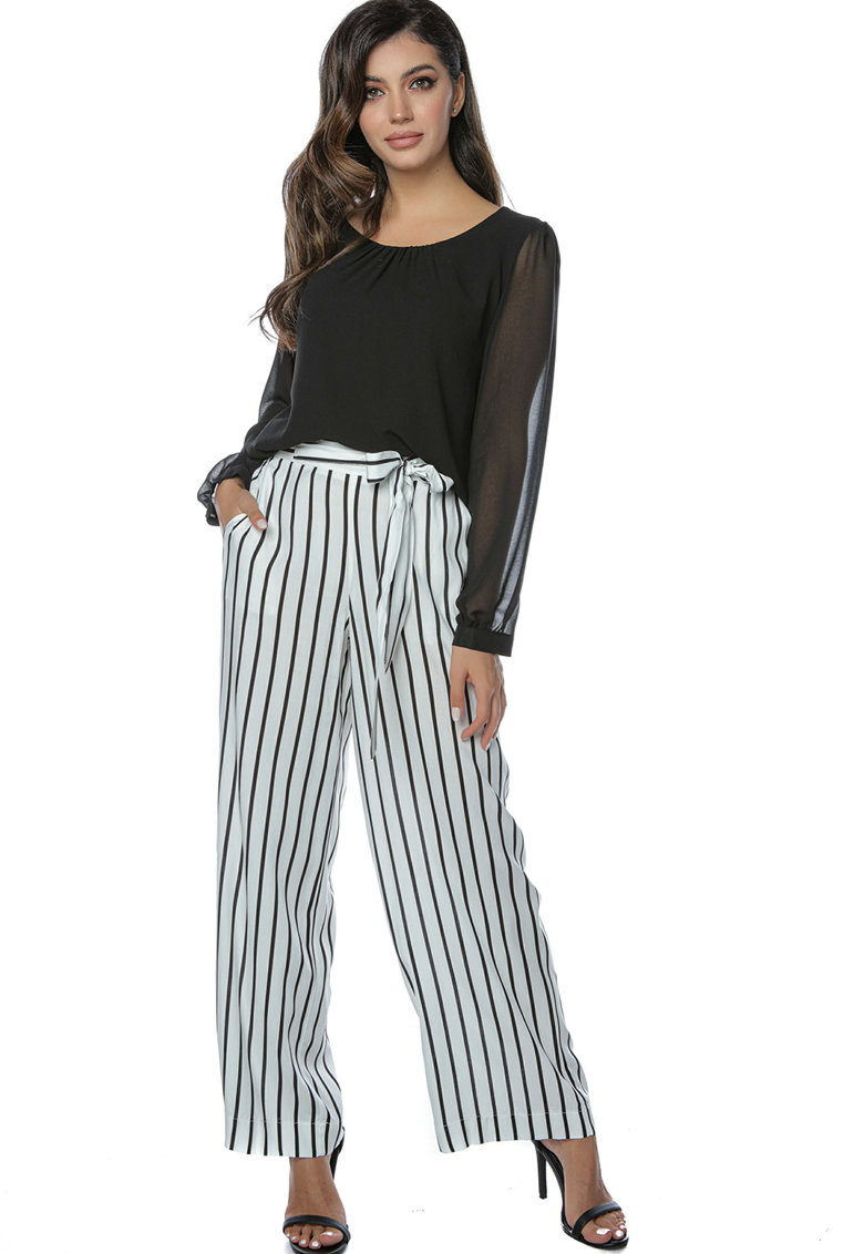 Miss One Pantaloni cu croiala ampla si model in dungi