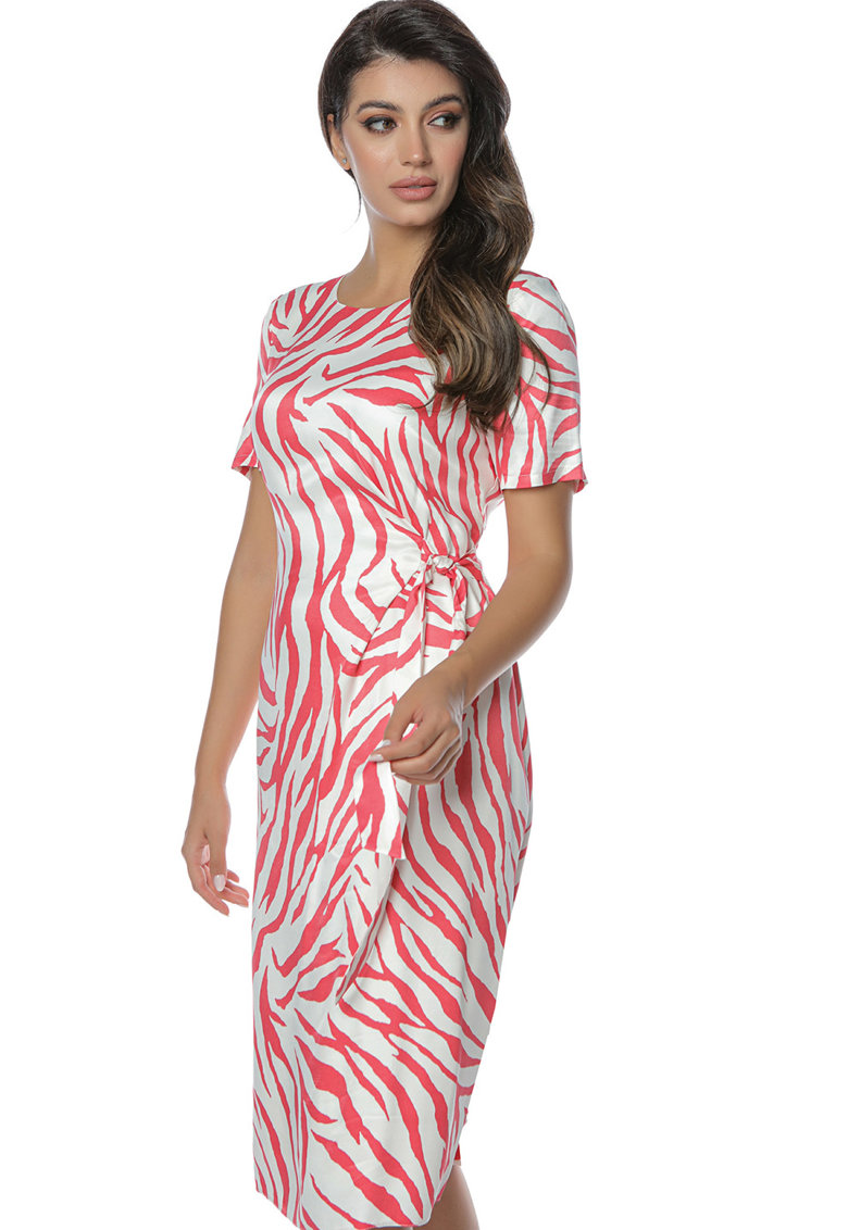 Miss One Rochie cu animal print si snur lateral