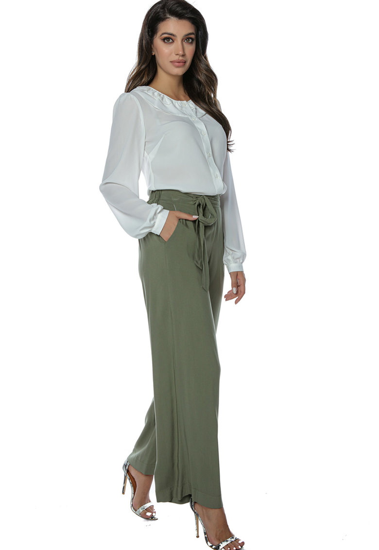 Miss One Pantaloni cu croiala ampla si cordon