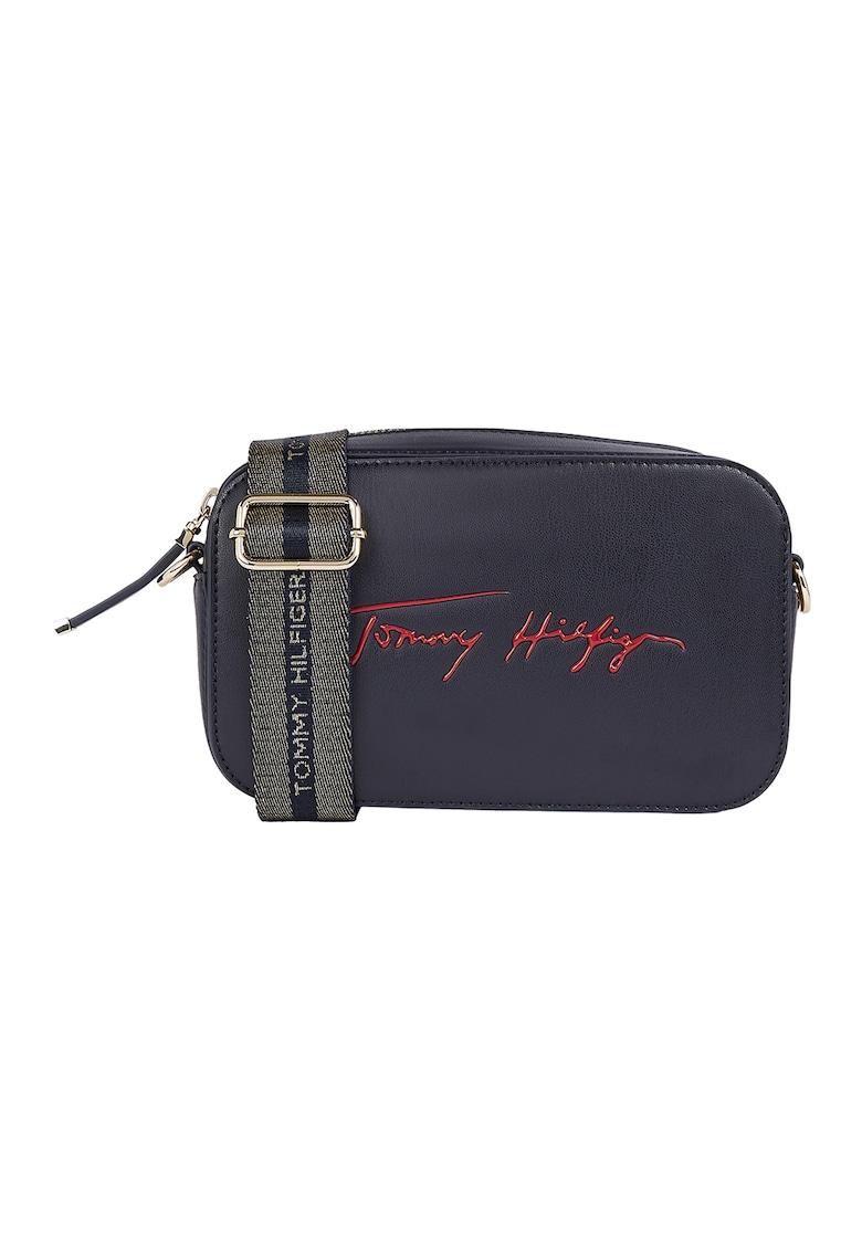 Tommy Hilfiger Geanta crossbody de piele ecologica cu logo Iconic Signature
