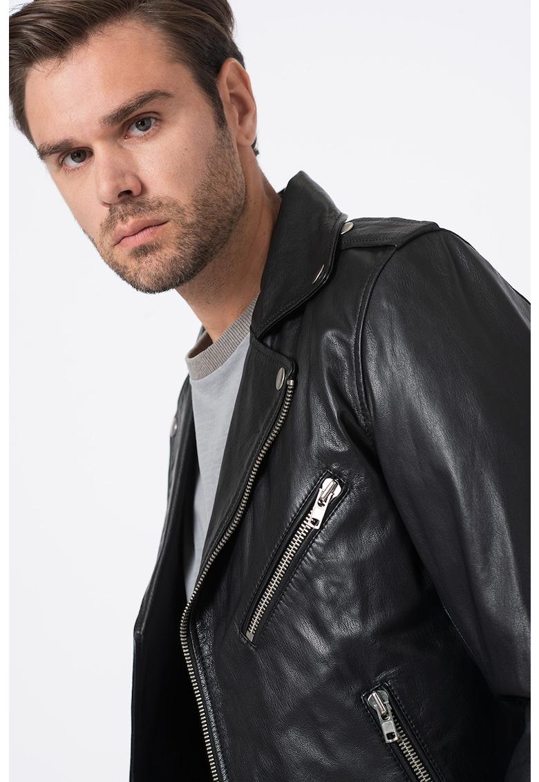 Jacheta de piele cu inchidere asimetrica Lumenirok de la Diesel