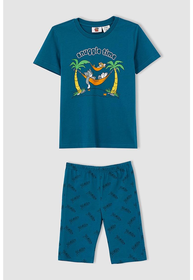 Pijama cu pantaloni scurti si model Ton&Jerry de la DeFacto