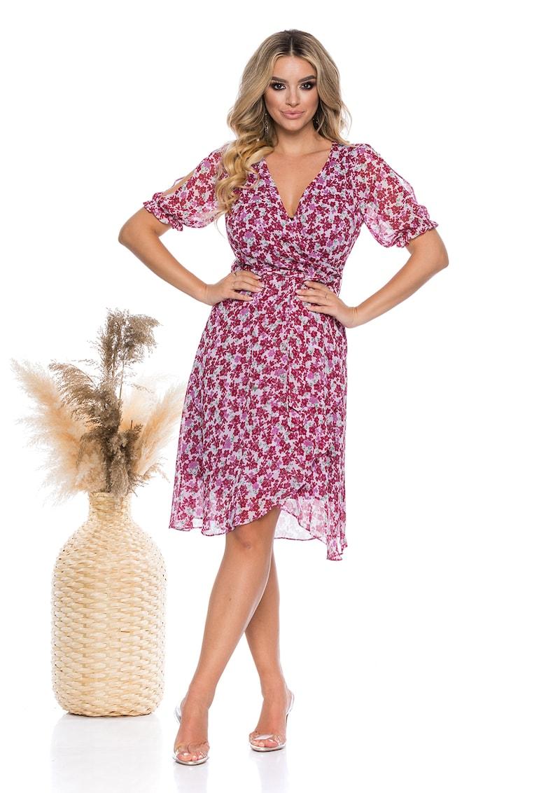 Rochie cu imprimeu floral si termintie asimetrica
