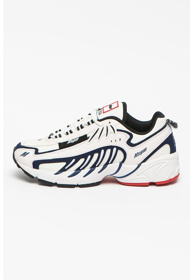 Pantofi sport de piele ecologica cu insertii din material textil