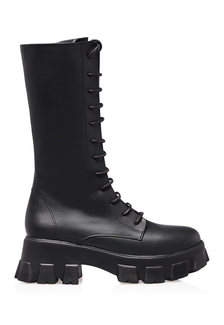 Bocanci mid-calf de piele cu toc masiv Formax de la Gemelli Shoes