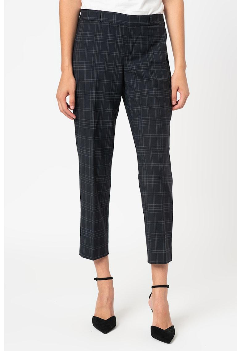 Pantaloni chino eleganti din amestec de lana - in carouri