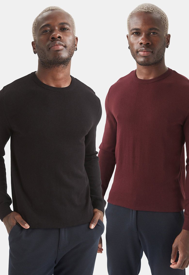 Set de pulovere slim fit cu decolteu la baza gatului - 2 piese de la DeFacto