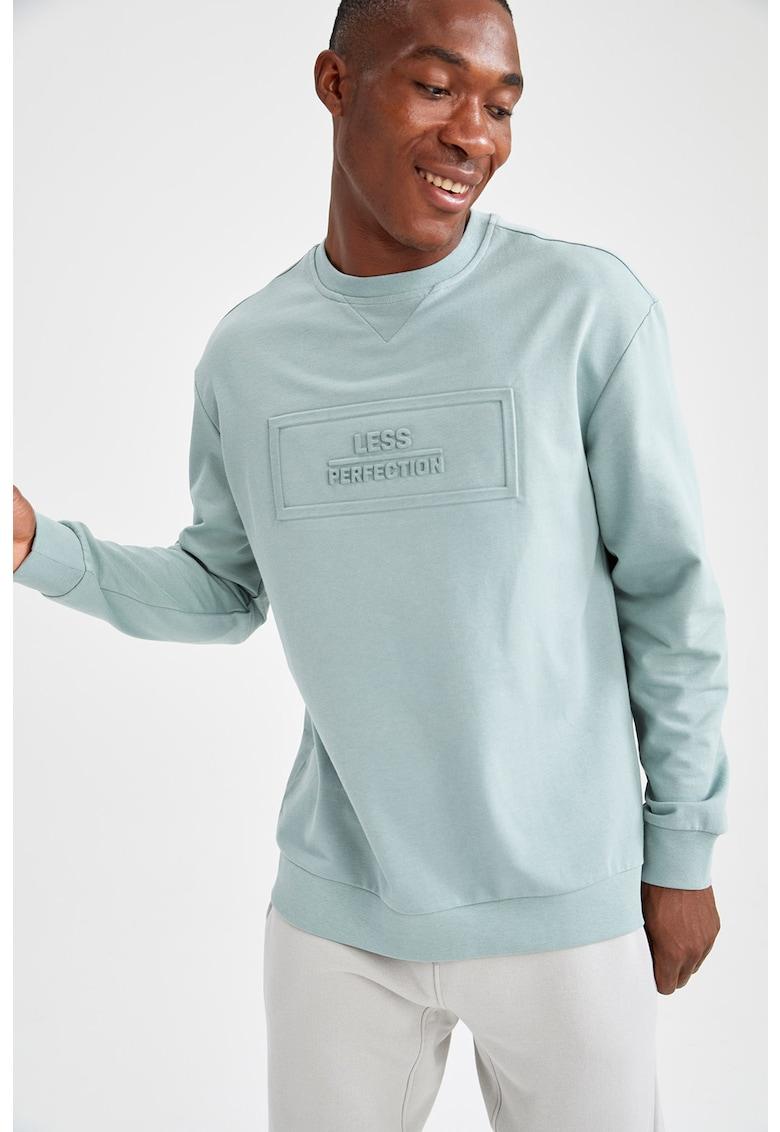 Bluza sport din amestec de bumbac cu decolteu la baza gatului de la DeFacto