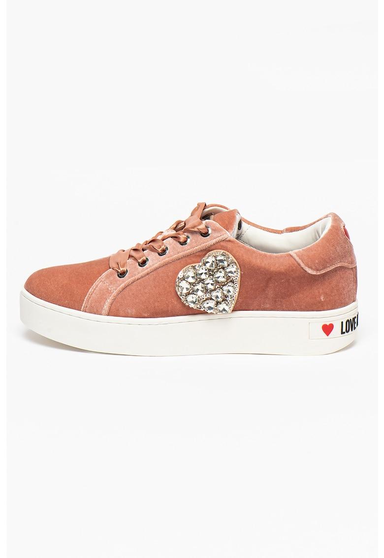 Pantofi sport catifelati cu strasuri