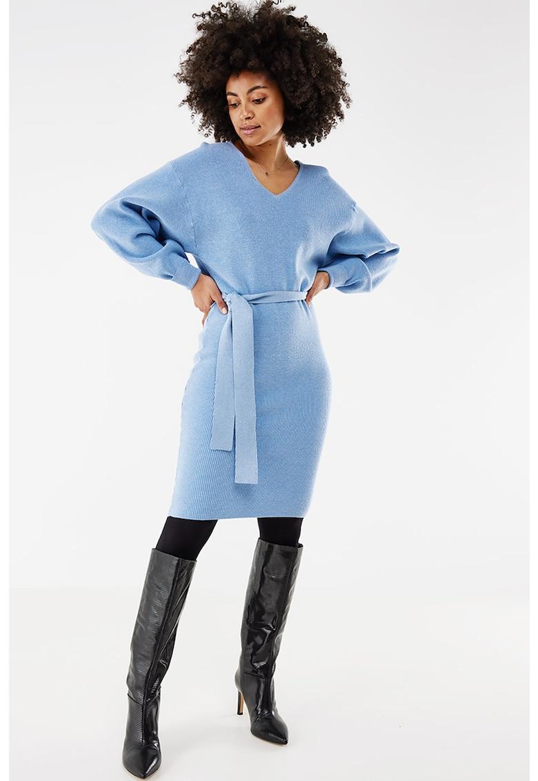 Rochie-pulover cu decolteu in V si cordon detasabil in talie