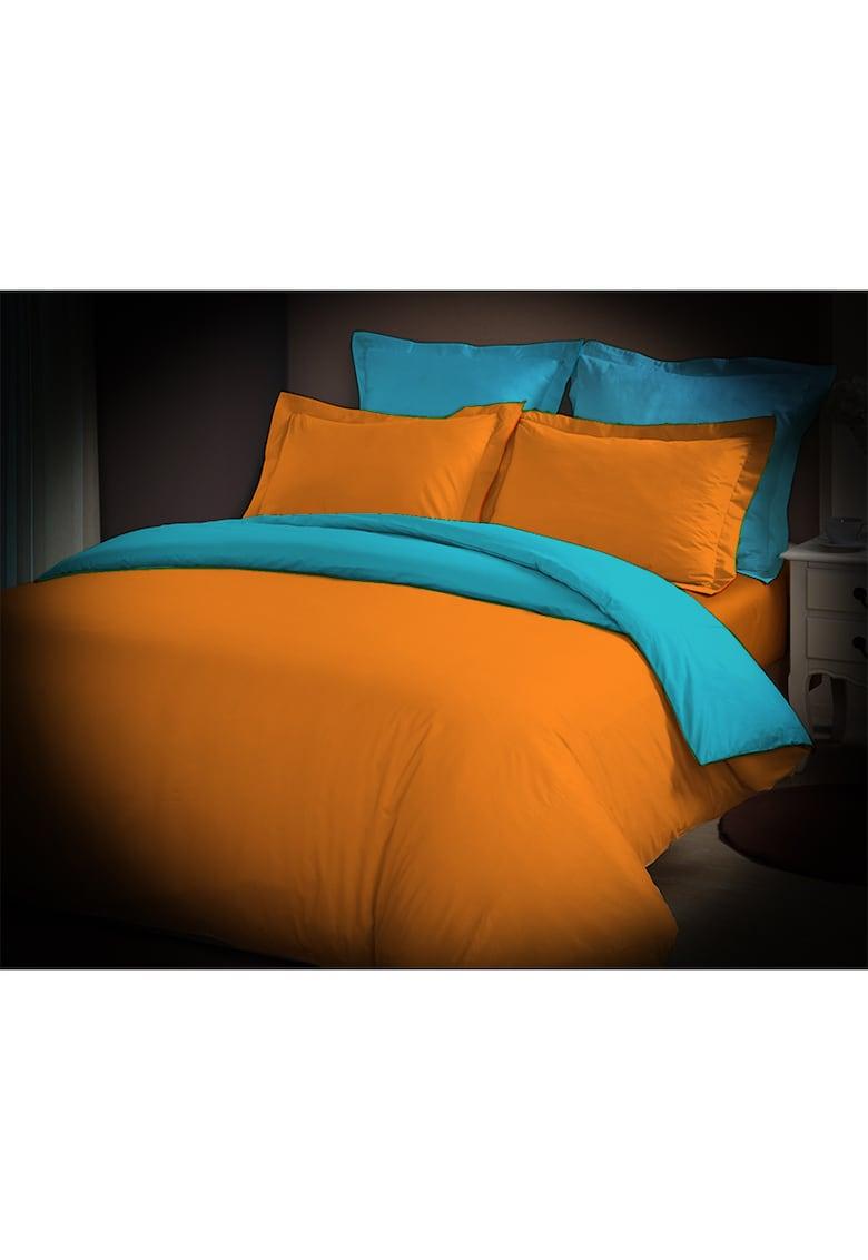 Lenjerie de pat pentru 2 persoane - 100% bumbac - orange/bleu thumbnail