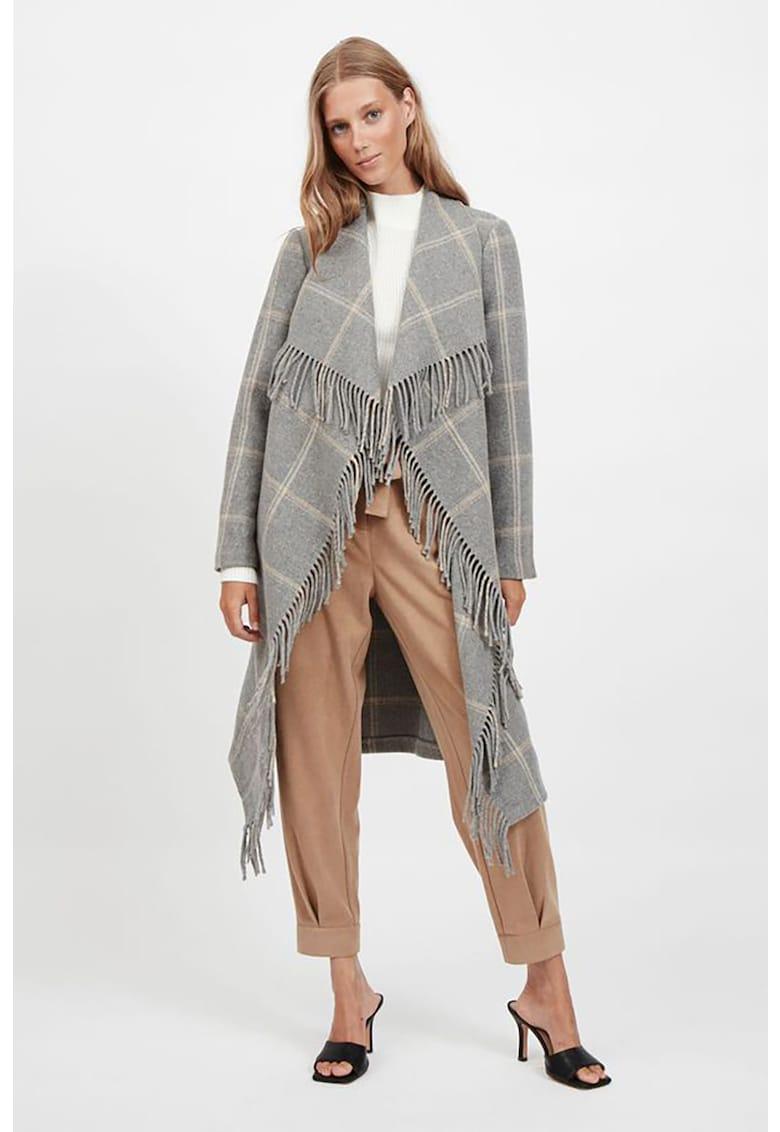 Palton din amestec de lana cu imprimeu in carouri