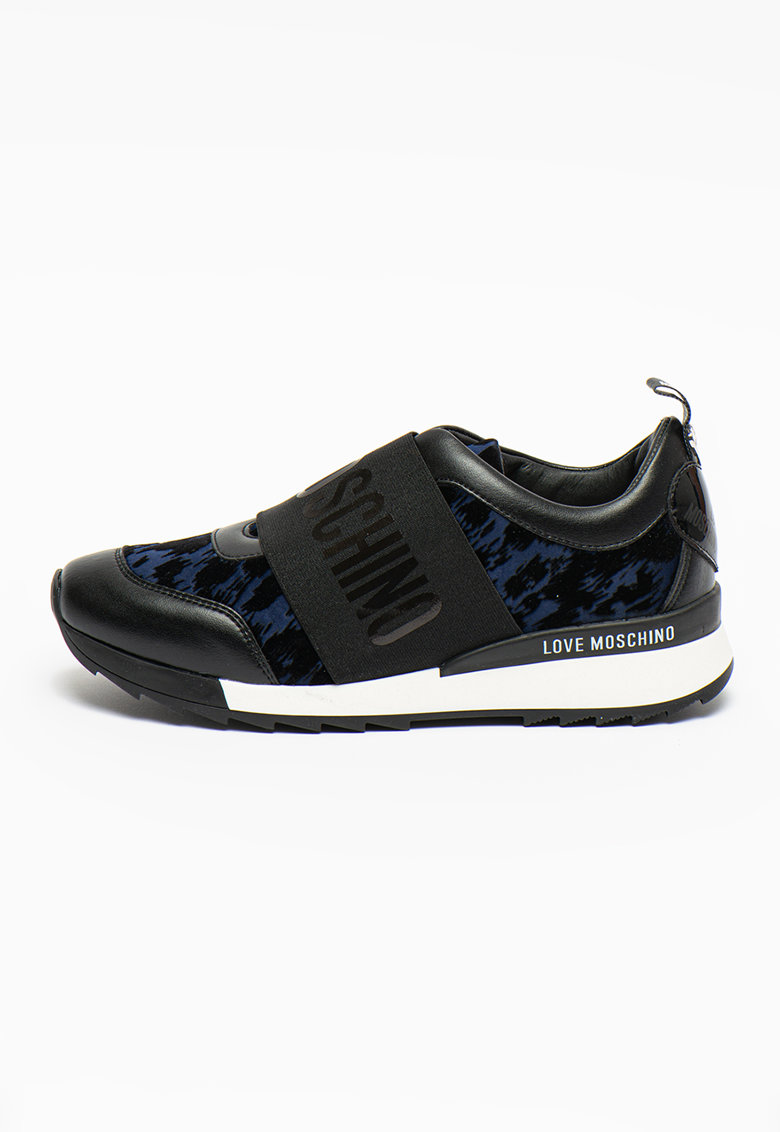 Pantofi sport slip-on cu garnituri de piele ecologica