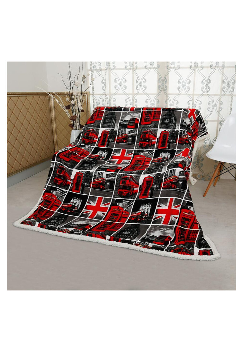 Patura City Home Stil - poliester - 200x200 cm - decor London Red 2 imagine fashiondays.ro
