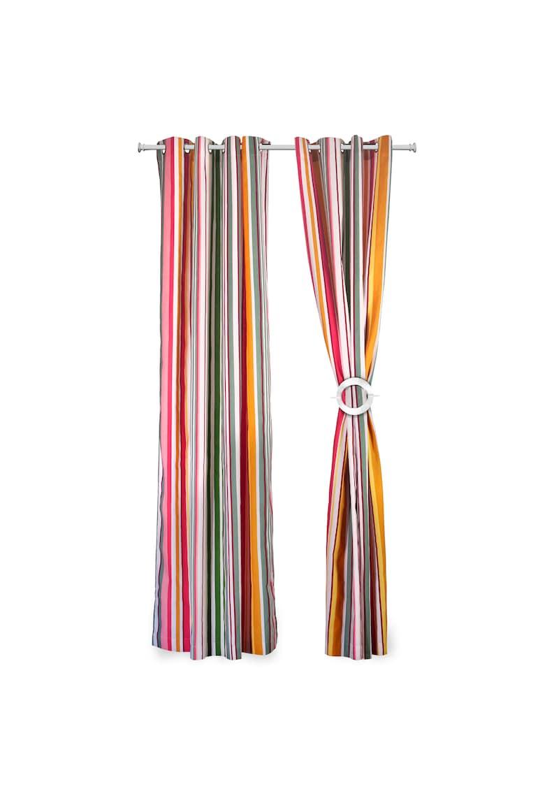 Set doua draperii  bumbac - 140x270 cm - Dungi Roz