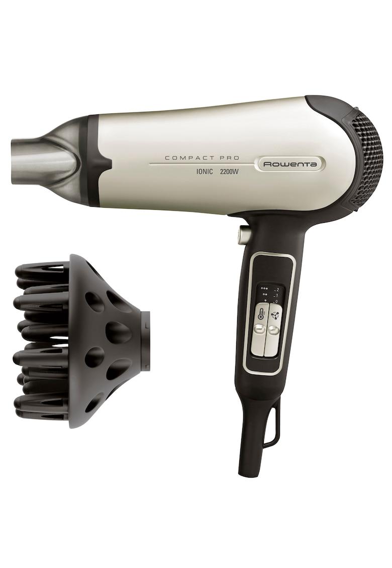 Uscator  Compact Pro  – Ionizare – 2200 W – 3 Trepte temperatura – 2 Viteze – Concentrator – Difuzor – Negru/Crem de la Rowenta