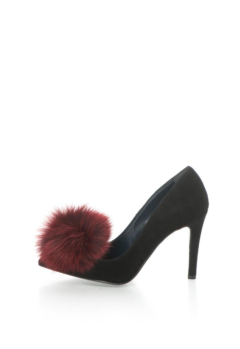 Pantofi stiletto negri de piele intoarsa Anne