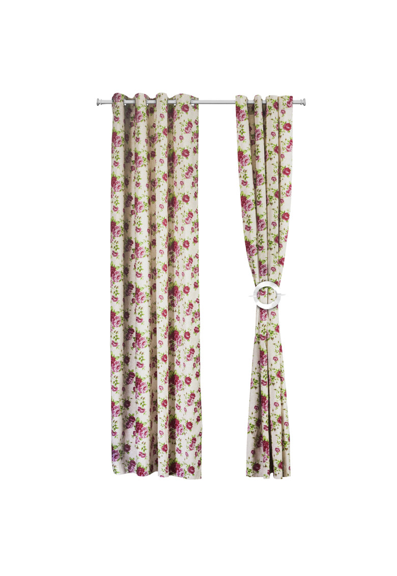 Set 2 draperii  140×270 cm – bumbac – Model flori Roz de la Heinner Home