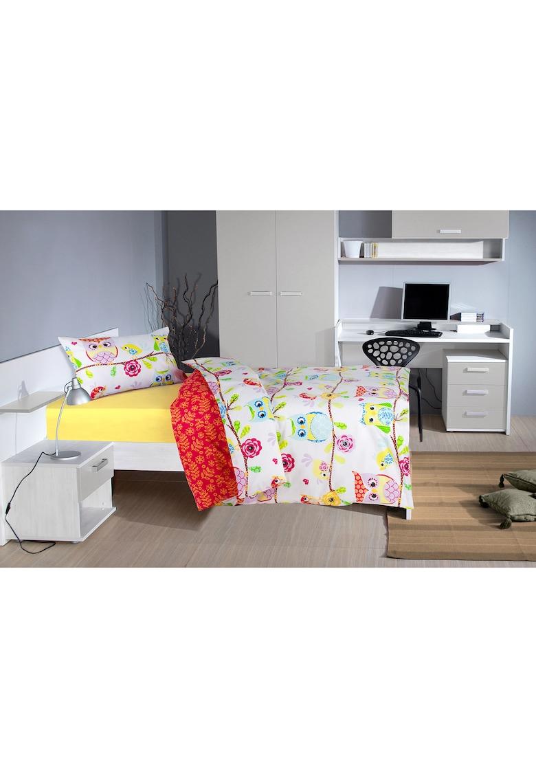 Lenjerie de pat pentru o persoana bumbac - Model bufnite - 2 piese thumbnail
