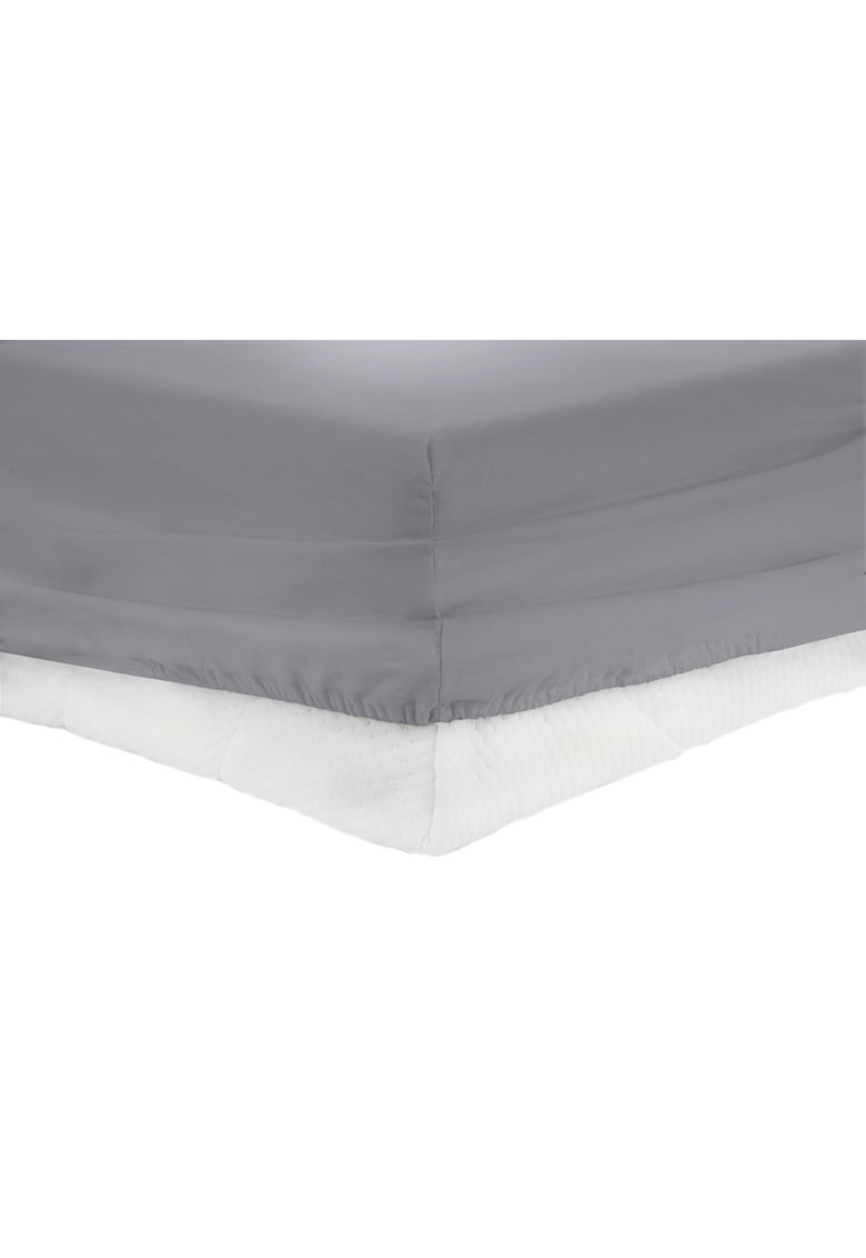 Cearceaf de pat cu elastic bumbac - Gri thumbnail