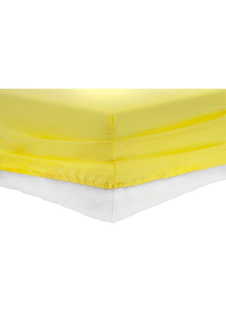 Cearceaf de pat cu elastic bumbac - Galben thumbnail