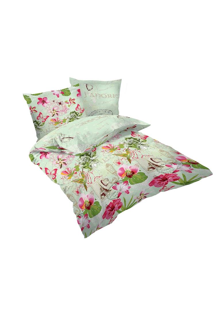 Lenjerie de pat J'adore pentru 2 persoane - bumbac satinat - multicolor