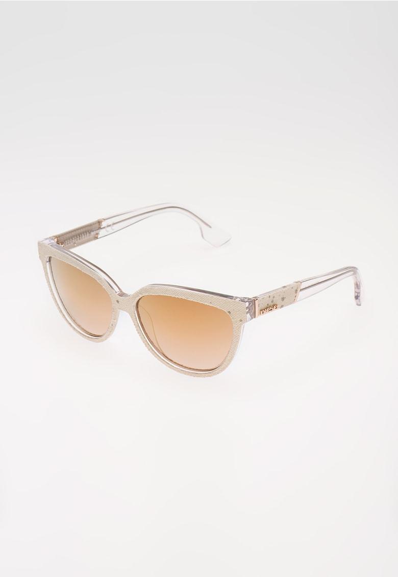 Ochelari de soare alb fildes cu aplicatii din denim imagine fashiondays.ro Diesel