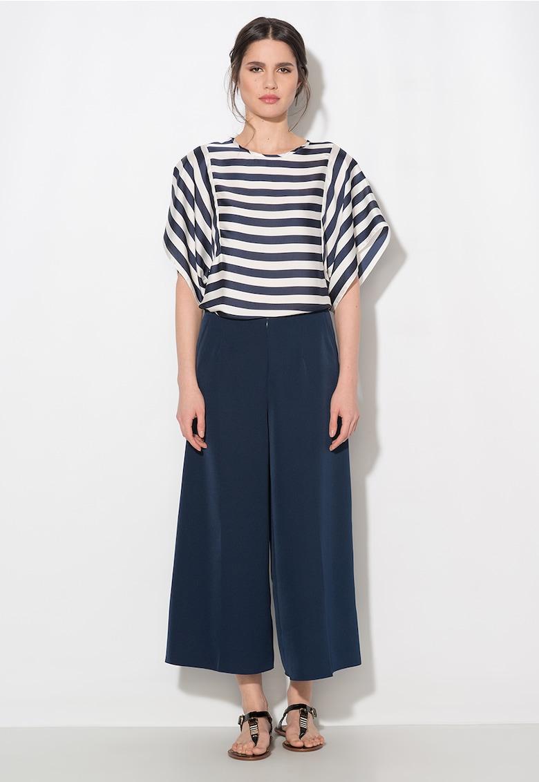 Pantaloni culotte bleumarin cu buzunare thumbnail