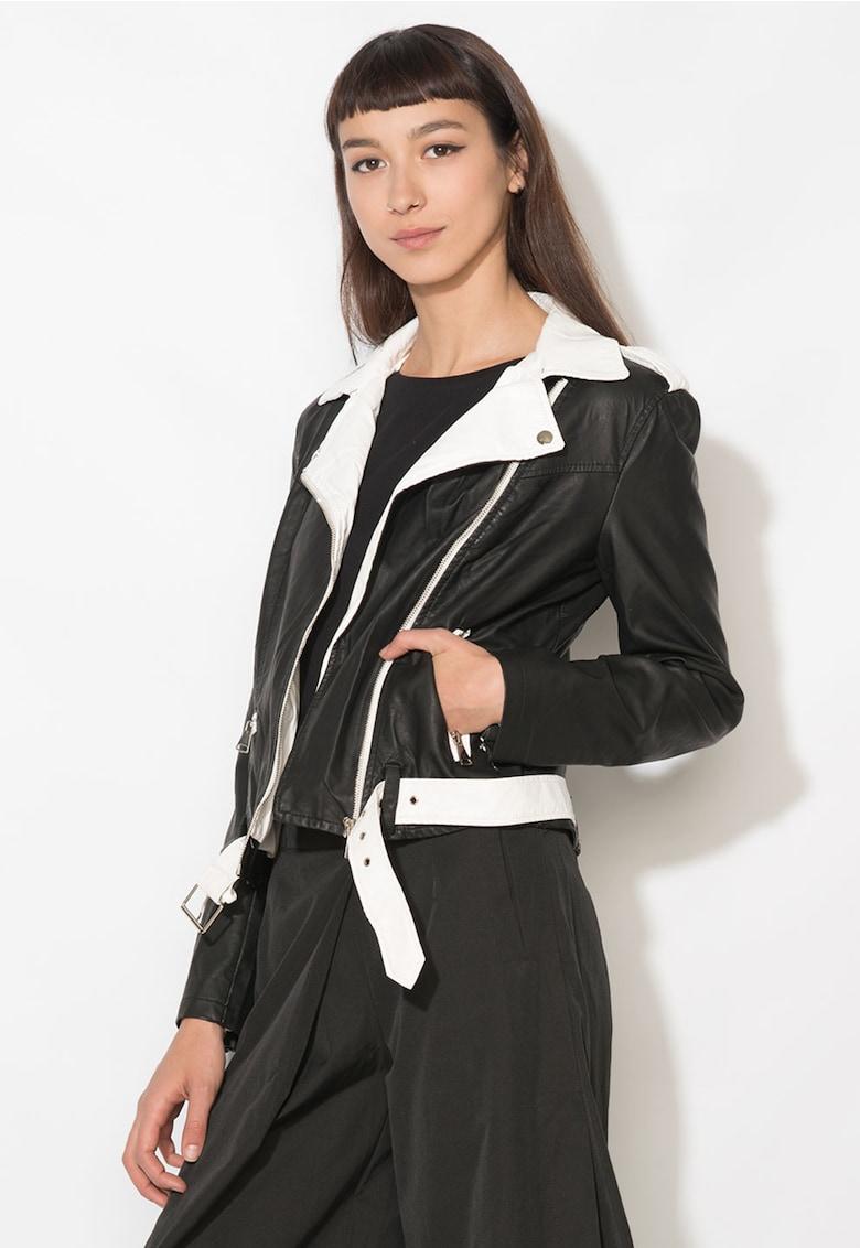 Jacheta negru cu alb de piele sintetica Zee Lane Denim