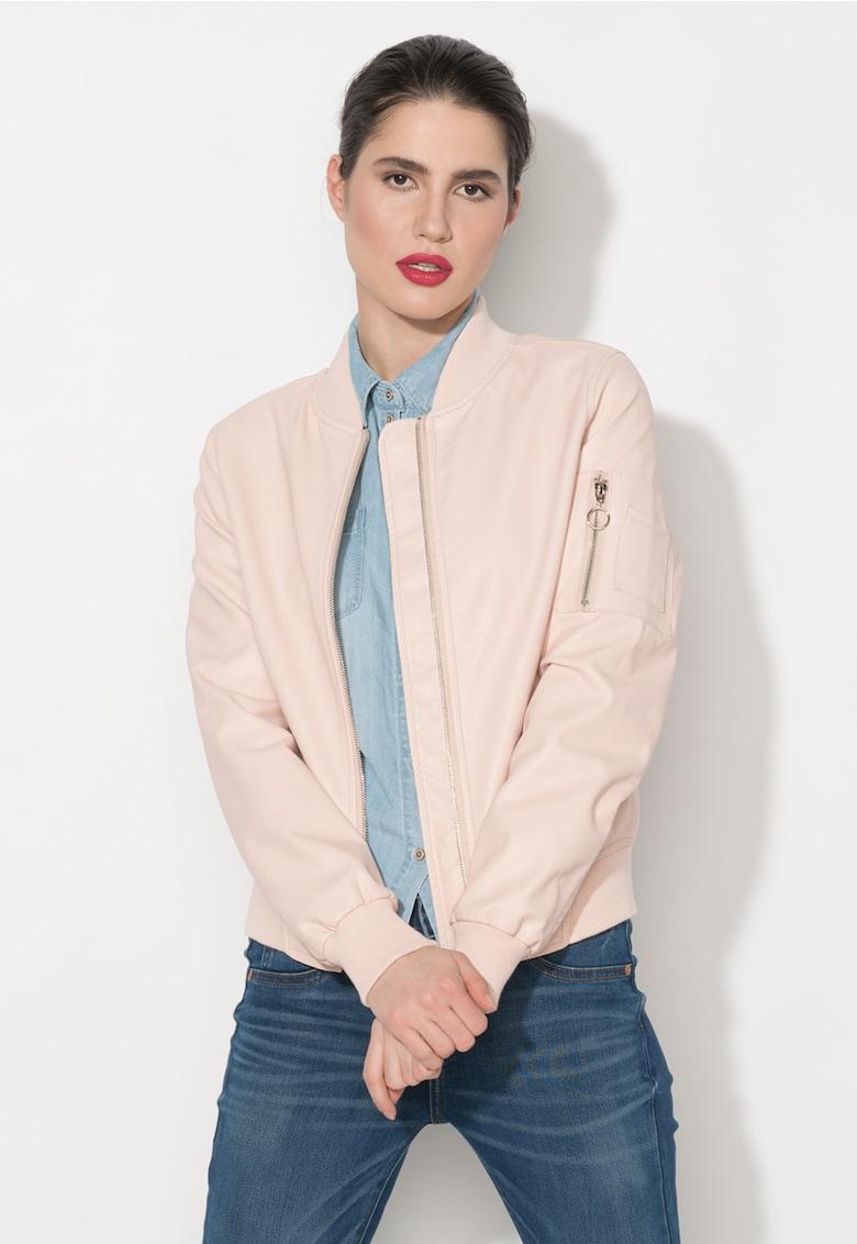 Zee Lane Denim Jacheta bomber roz de piele sintetica