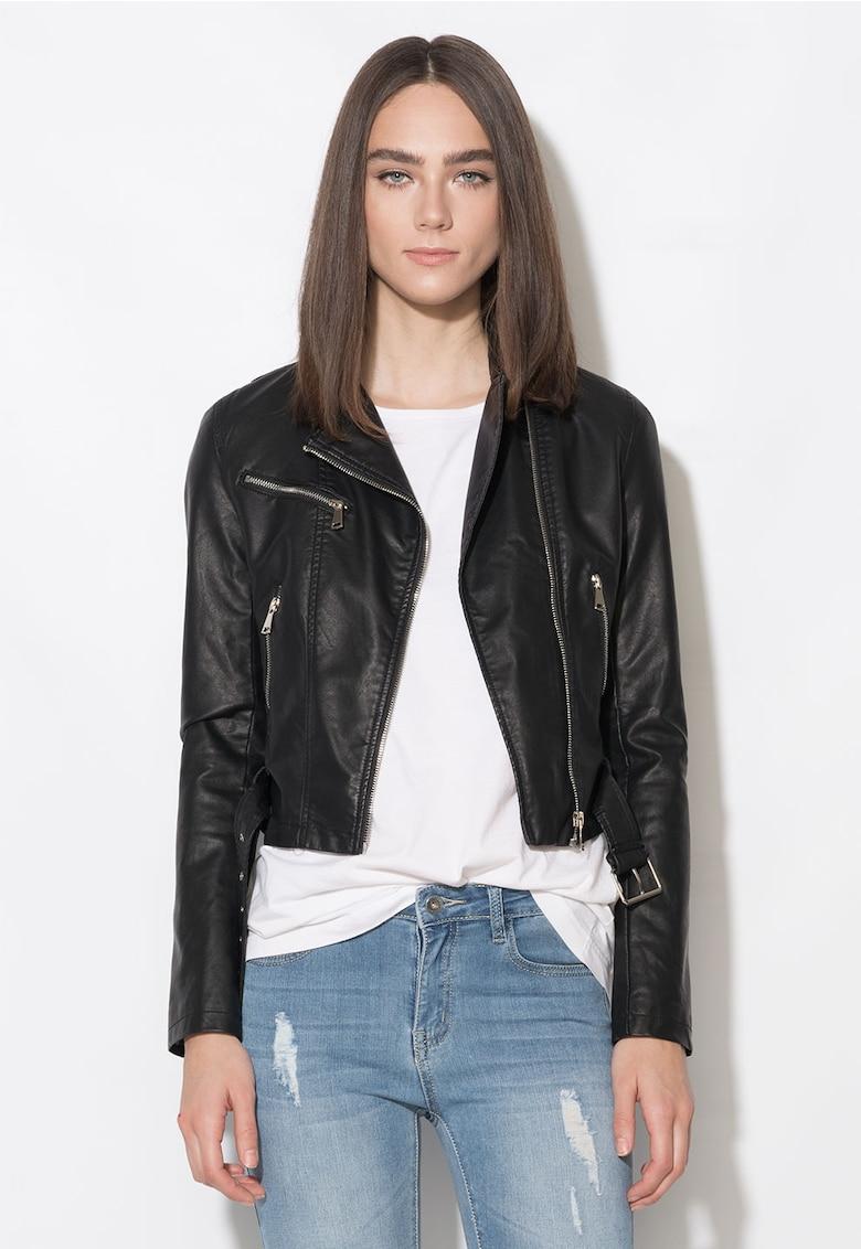 Jacheta neagra cu imprimeu multicolor pe spate
