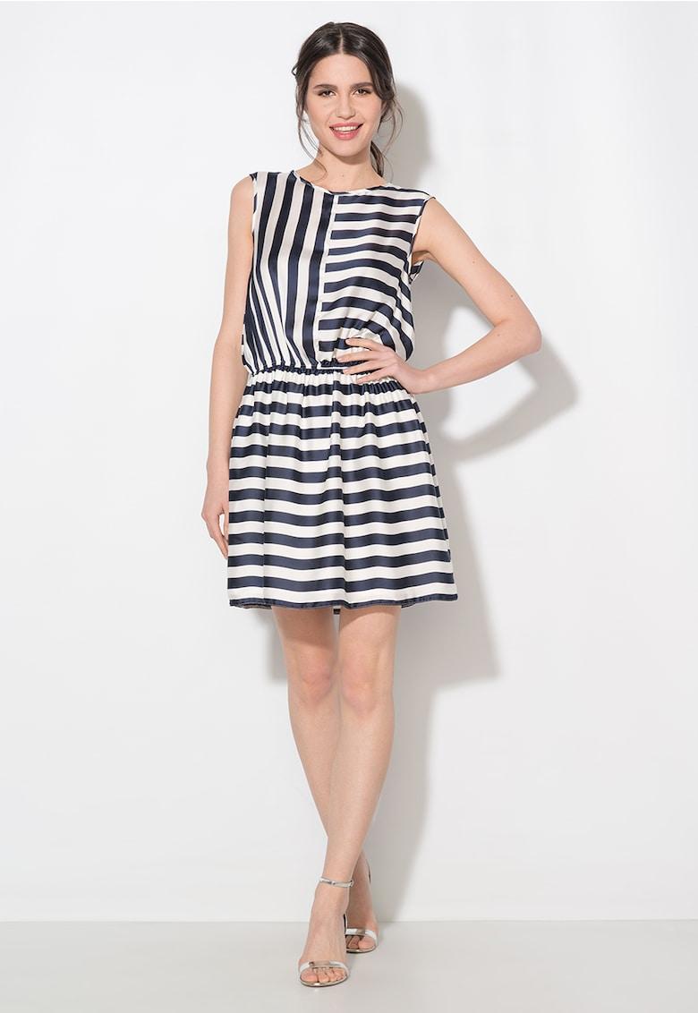 Zee Lane Collection Rochie bleumarin cu alb in dungi cu talie elastica