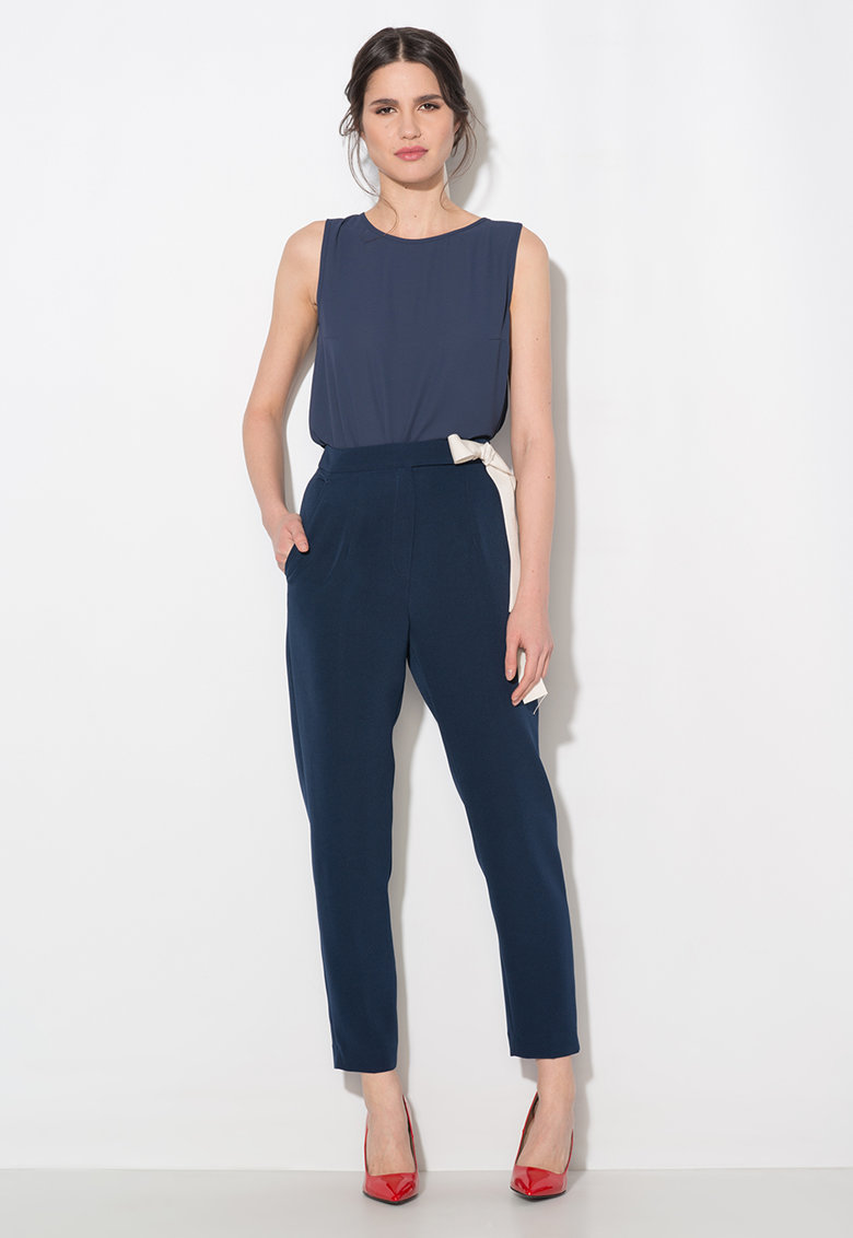Zee Lane Collection Pantaloni bleumarin conici cu talie inalta
