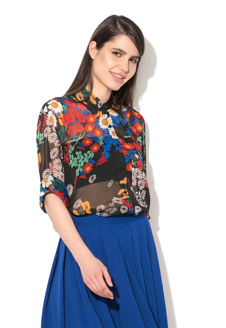 Camasa lunga multicolora cu model floral
