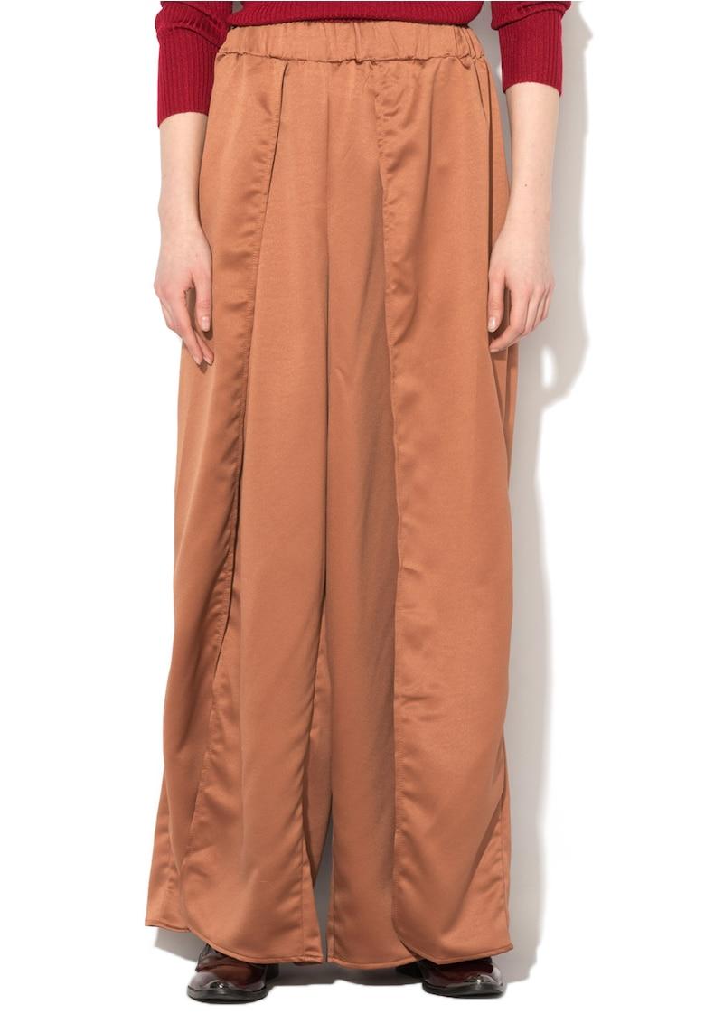 Fusta-pantalon maro acaju de satin cu slit adanc