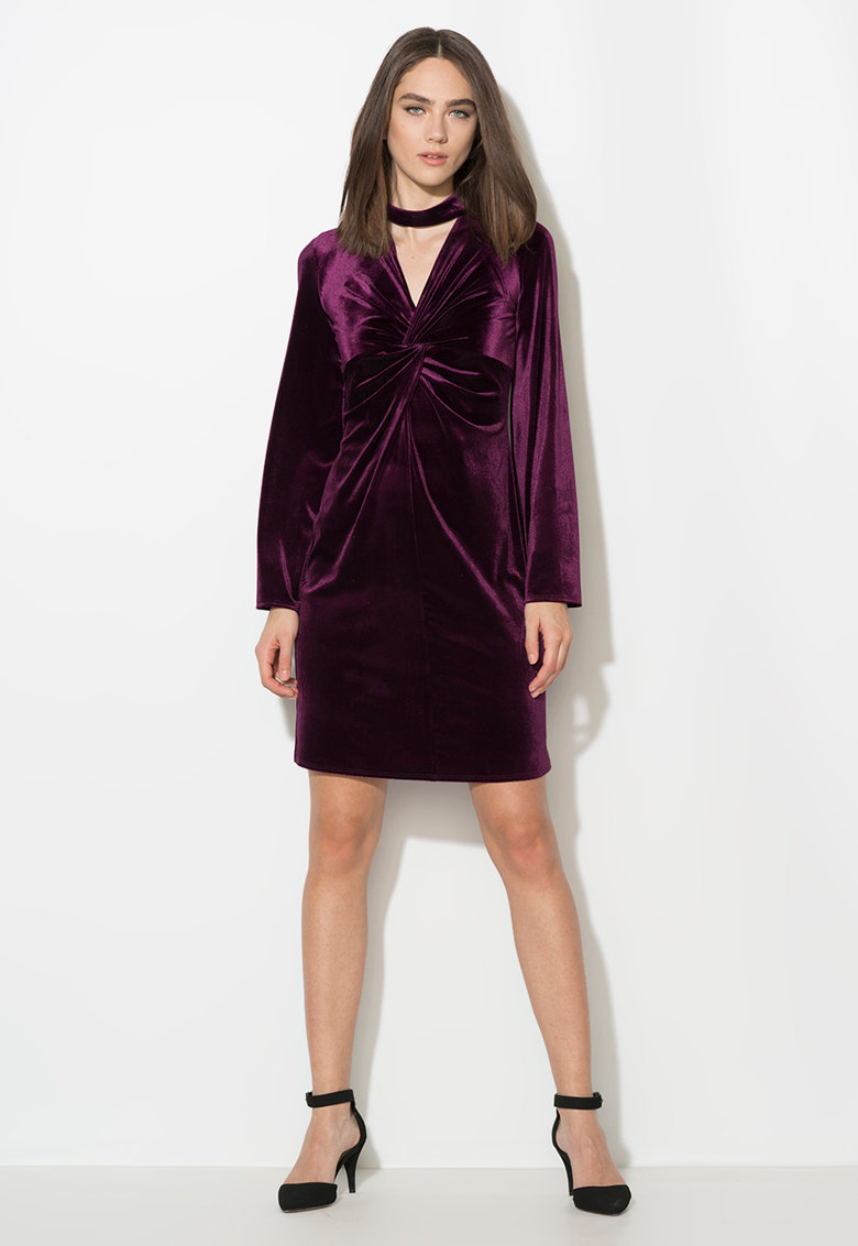 Zee Lane Collection Rochie violet tyrian catifelata